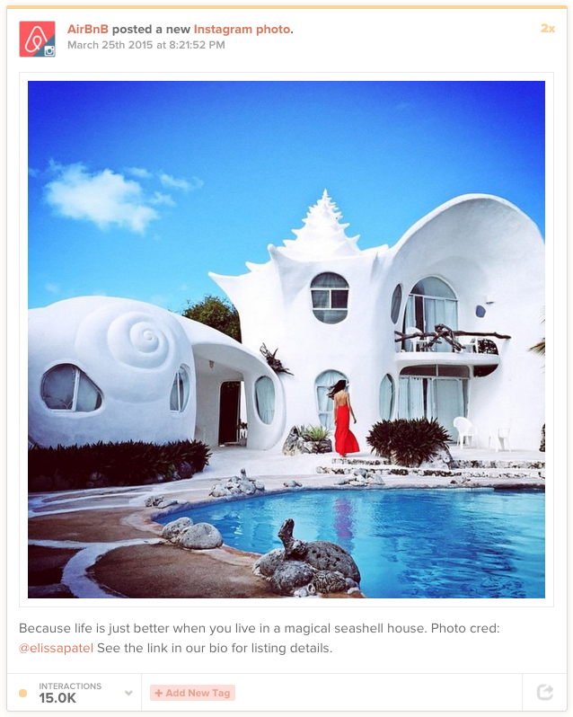 AirBnB's top post on Instagram