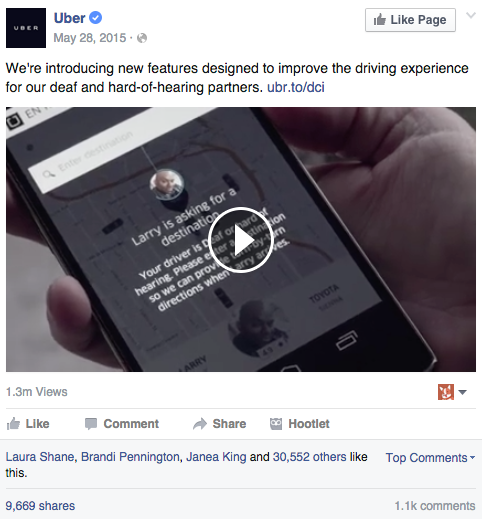 Uber's top Facebook post