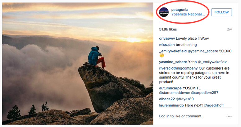 Patagonia is also an active geo-tagger on Instagram.