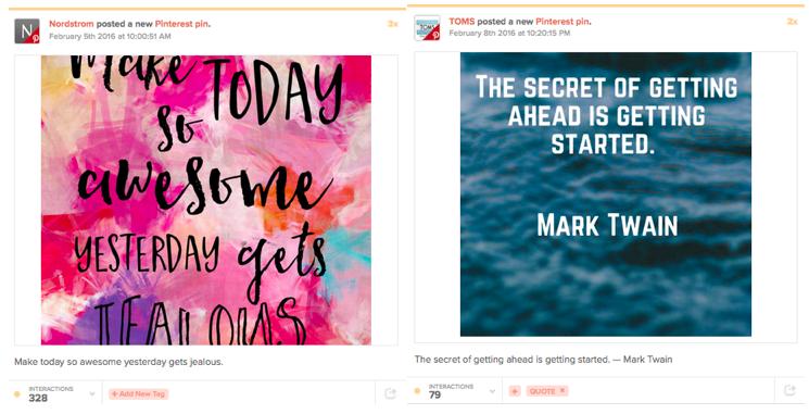 Top B2C brands on Pinterest: Nordstrom and TOMS quotes