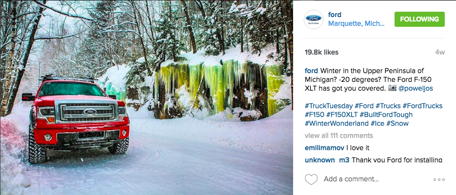 Instagram best practices: Ford 1