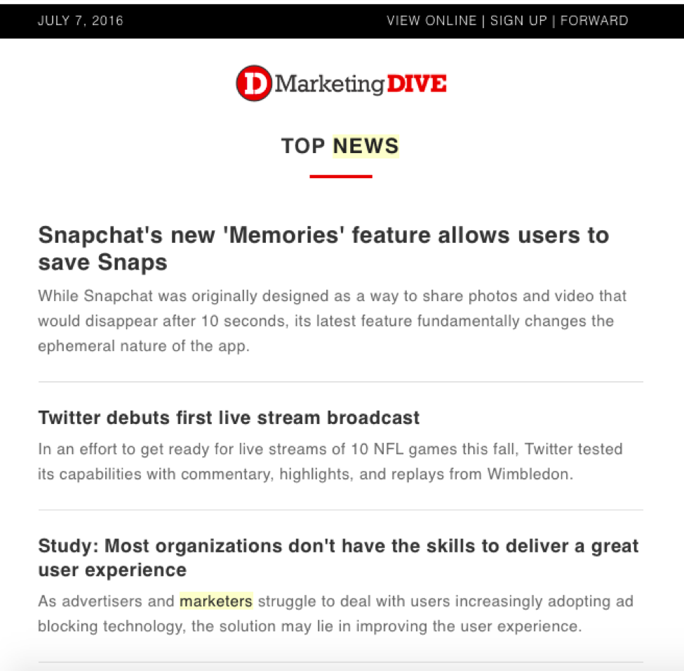 Marketing newsletters -- Marketing Dive